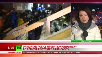 News video: Breaking Barricades: Ukraine cops clash with protesters in attempt to clear roads